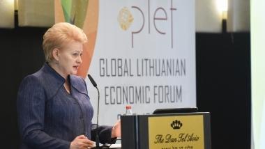 Lietuvos Respublikos Prezidentės Dalios Grybauskaitės kalba Pasaulio lietuvių ekonomikos forumo dalyviams